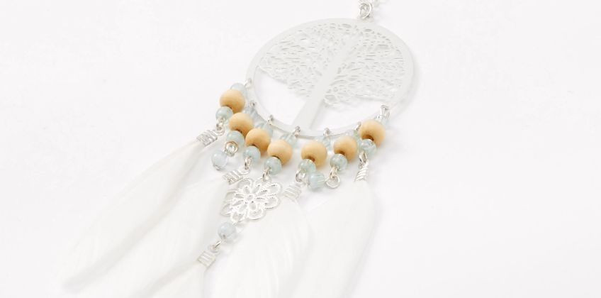 Go to Product: Silver Tree Of Life Beaded Feather Long Pendant Necklace - White from Claires