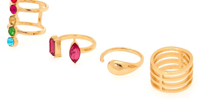 Go to Product: Gold Rainbow Gem Ring Set - 4 Pack from Claires