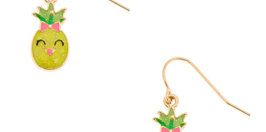 """Go to Product: Gold 0.5"""" Happy Pineapple Drop Earrings from Claires"""