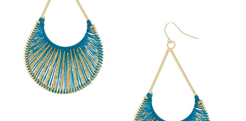 """Go to Product: Gold 3"""" Threaded Scoop Drop Earrings - Turquoise from Claires"""