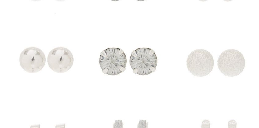 Go to Product: 9 Pack Silver Stud Earrings from Claires