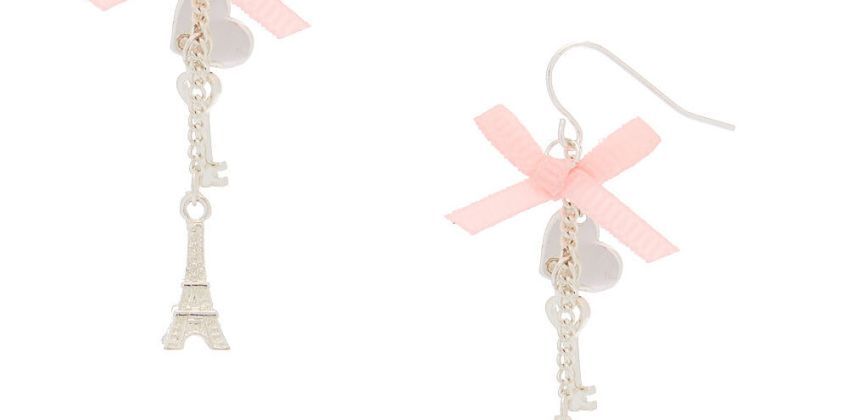 "Go to Product: 2"" Romantic Eiffel Tower Drop Earrings from Claires"
