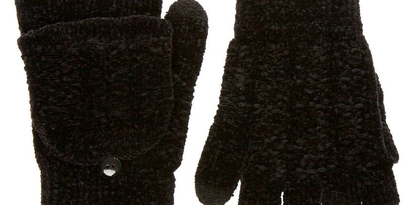 Go to Product: Chenille Fingerless Gloves With Mitten Flap - Black from Claires