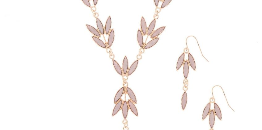 Go to Product: Rose Gold Leaf Jewellery Set - Blush, 2 Pack from Claires