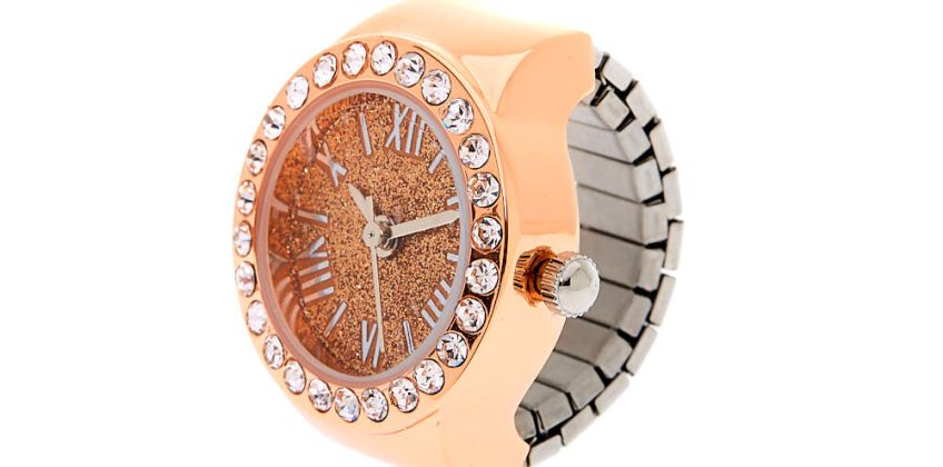 Go to Product: Rose Gold Glitter Ring Watch from Claires