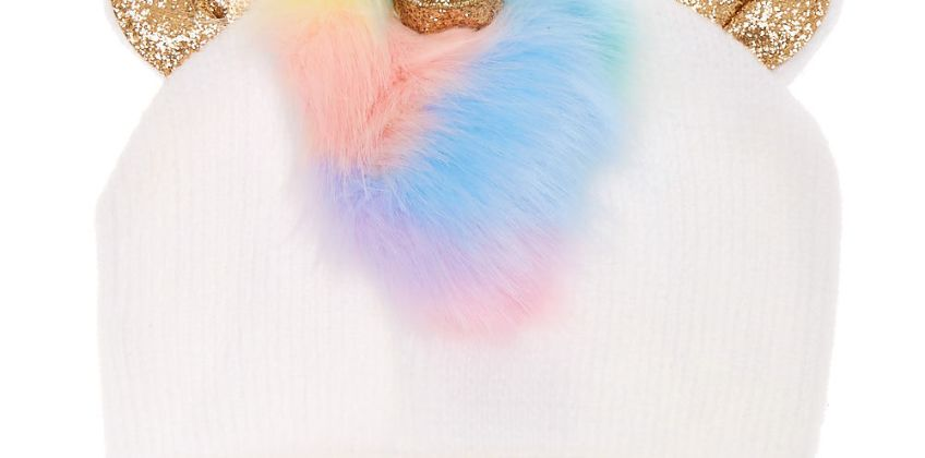 Go to Product: Rainbow Faux Fur Unicorn Beanie - White from Claires