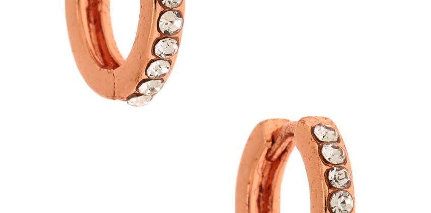 Go to Product: 18kt Rose Gold Plated 10MM Embellished Huggie Hoop Earrings from Claires