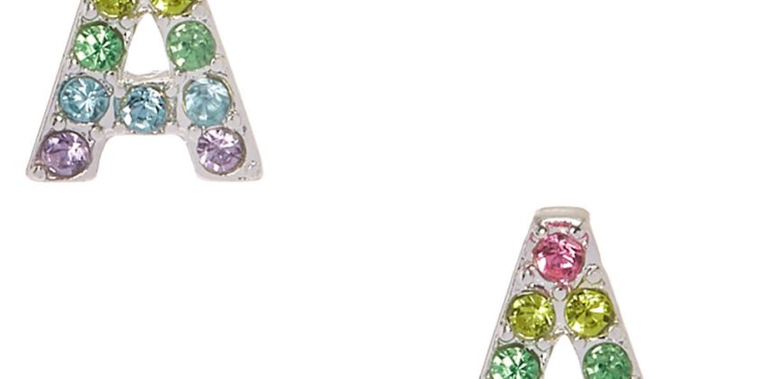 Go to Product: Pastel Gem Initial Letter A Silver Tone Stud Earrings from Claires