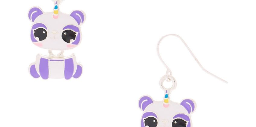 """Go to Product: 1"""" Charlie the Panda Drop Earrings - Purple from Claires"""
