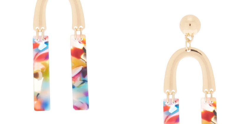 "Go to Product: Gold 2.5"" Horseshoe Resin Abstract Drop Earrings from Claires"
