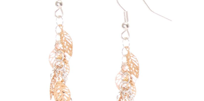 """Go to Product: Silver & Gold 2"""" Leaf Drop Earrings from Claires"""