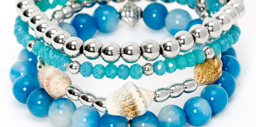 Go to Product: Silver Conch Shell Beaded Stretch Bracelets - Blue, 4 Pack from Claires