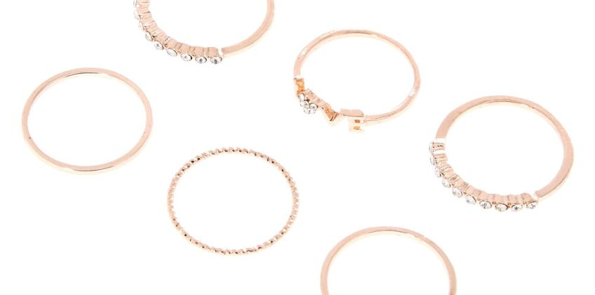 Go to Product: Rose Gold Love Rings - 6 Pack from Claires