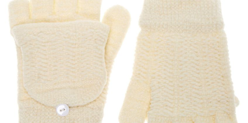 Go to Product: Chenille Fingerless Gloves With Mitten Flap - Ivory from Claires