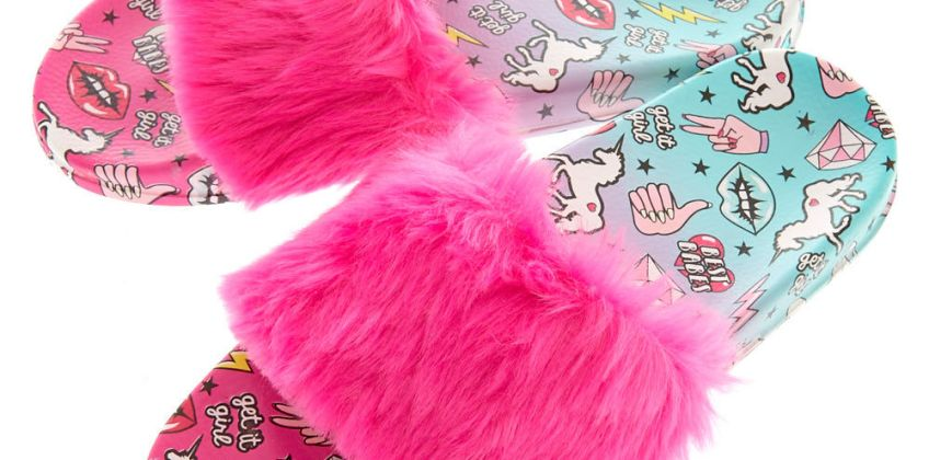 Go to Product: Ombre Unicorn Power Fur Slide Sandals from Claires