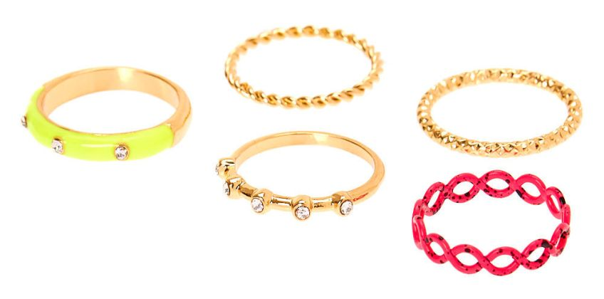 Go to Product: Gold Neon Embellished Rings - 5 Pack from Claires