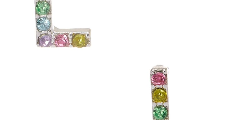 Go to Product: Silver Pastel Embellished Initial Stud Earrings - L from Claires