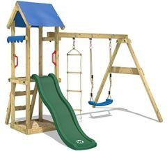 Spielturm TinyCabin Kletterturm Spielplatz mit Schaukel Rutsche, Sandkasten Strickleiter, grüne + blaue Plane