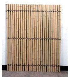 Bambuszaun, Moso gelblich, starr mittels verbunden verschnürt, Gebleicht, 150 x 120cm, Durch. Bambusrohre 3,5-4cm