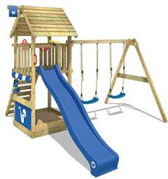 Spielturm Smart Shelter Kletterturm Holzdach Klettergerüst Sandkasten, Rutsche und Schaukel, blau