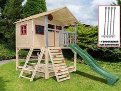 Stelzenhaus mit Kletterwand und Sandkasten Tobi4you. Kinderspielhaus, Sicherheit wählen:4X Bodenanker, wählen:moosgrüne