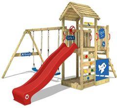 Spielturm MultiFlyer DeLuxe Spielplatz Klettergerüst mit Holzdach, rote Rutsche, Doppelschaukel und Sandkasten