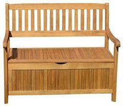 Ploß Aufbewahrungsbank Kissenbox Natur, Gartenbank Akazien-Holz, Stilvolle Holz-Bank