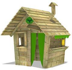 HippoHouse Heavy XXL Kinderspielhaus Garten Spielgerät mit Holzdach, Schornstein und breiter Ladentheke