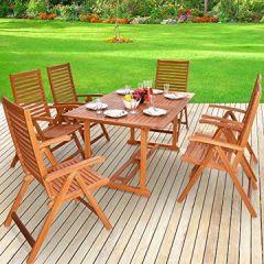 Sitzgruppe 6+1 aus Massivem Eukalyptus Holz, Klappstühle mit Armlehnen - Sitzgarnitur Gartentisch Esstisch Gartenmöbel Set