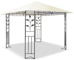 JOM Metall Pavillon x mit Schmiedeeisen-Ornamenten, anthrazit-grau pulverbeschichtet, Dach Cremeton, Polyester 180