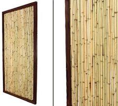 Bambuszaun KohSamui Klassik 180x90cm, dunkler Rahmen mit Bambusrohr Füllung Sichtschutzwand Sichtschutzelement Gartenzaun Zaunelement Sichtschutzwände Gartenzäune