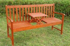 Gartenbank, Sitzbank mit klappbarer Tisch Holzbank Picknick