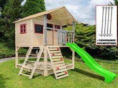 Stelzenhaus mit Kletterwand und Sandkasten Tobi4you. Kinderspielhaus, wählen:apfelgrüne Rutsche, Sicherheit wählen:4X Bodenanker