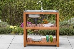 Gartentisch, Eukalyptus, 46x90 braun beige