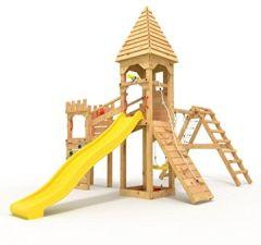 """Spielturm Ritterburg """"XL"""" 3m 2x Türme, 1.50 1.20m Podesthöhen, Brücke, Kletterwand Sandkasten, verschiedene Farben geschlossen (Spitz) gelbe Rutsche/Schaukel"""