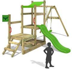 Klettergerüst RabbitRally Racer XXL Spielturm Spielhaus mit 2 Podesthöhen, Sandkasten, Schaukel und rutsche
