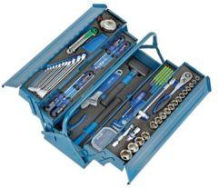 Heyco/Heytec 50807694500 Montage-Werkzeugkasten, Stahlblech 5-fach aufklappbar inklusive 96-teiligem Werkzeugsortiment, Modulen