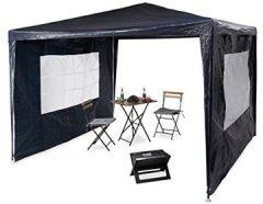 Pavillon 3x3 m, 2 Seitenteile, Metall Gestell, PE Plane, Fenster, Festival Partyzelt, Geschlossen, Blau