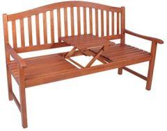 """Gartenbank """"Primrose"""" mit hochklappbarem Tisch aus geöltem Eukalyptus Hochzeitsbank Sitzbank Holzbank"""