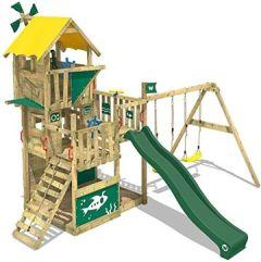 Spielturm Smart Flight Baumhaus Kletterturm mit Rutsche, Doppel-Schaukel und verschiedenen Ebenen, grüne + gelbe Plane