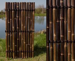 """Bambuszaun """"Apas3"""" schwarz- braun, ganze Bambusrohre, 180 x 90cm von bambus-discount Sichtschutzzäune Gartensichtschutz Balkonsichtschutz Winschutz Terasse Blichschutz --> großes Sortiment Sichtschutz, Bambus, Schilf Naturprodukte"""