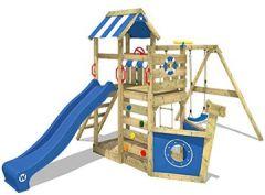 Spielturm SeaFlyer Klettergerüst für Garten mit Schaukel, Strickleiter, Plane, Wellenrutsche und viel Spiel-Zubehör