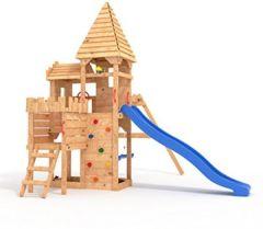 Ritterburg-L150 Spielturm, Klettergerüst, Lange Rutsche, Doppelte Schaukel, Kletterwand und Sandkasten mit 3X Podesthöhen