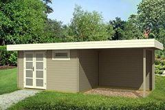 Gartenhaus ORIENTAL 40-SD300 mit Schleppdach 380x260+300cm 40mm Blockhaus