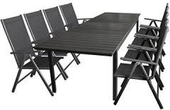 9tlg. Gartengarnitur Aluminium Gartentisch Polywood-Tischplatte Ausziehbar 280/220x95cm + 8X klappbare Hochlehner 2x2 Textilenbespannung, Rückenlehne 7-Fach Verstellbar