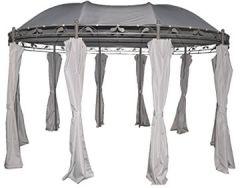 128802 Nancy grau-Gartenpavillon 3x4 m-Event rund Metall-Gartenzelt wasserdicht & UV Schutz 50 für Garten, Hellgrau, 11 4,4 2,5 cm