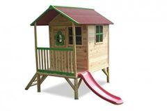 ERIK - Stelzenhaus Holz mit roter Rutsche