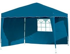 Stella blau Aluminium mit Seitenwänden, 300x300x260cm, Faltpavillon einsetzbar Gartenpavillon, Party- Festzelt, Camping- Festival-Zelt, Gartenmöbel