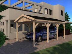 Carport Satteldach LE MANS 350cm x 600cm KVH Bausatz m. Statik Konstruktionsvollholz