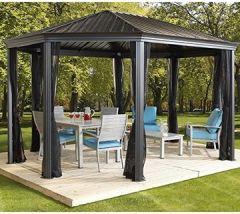 Aluminium Überdachung Gazebo Komodo 12x18 363x546 cm (BxH) Sommer-Pavillon und Gartenlaube mit Hard-Top von